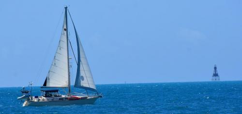 Sailing past American Shoal Light