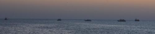 Commercial fishermen resting