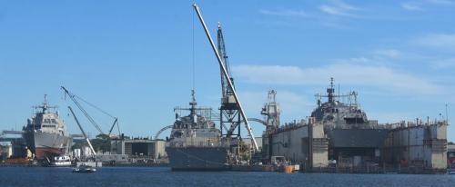 Three warships in dock
