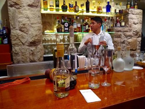 Mixing Pisco Sour at the Belmond Hotel Machu Picchu