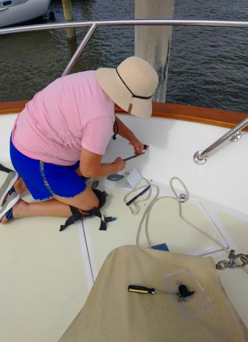 Sian replacing fore deck power outlet